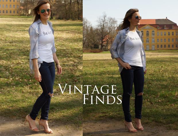 { Vintage Button-up | LeBoer Shirt | Only (customized) Denim | Zara Heels | Ernsting's Family Sunnies }