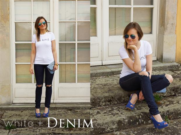 { LeBoer Shirt | Only (customized) Denim | Deichmann Heels | DIY Denim Clutch | Ernsting's Family Sunnies }